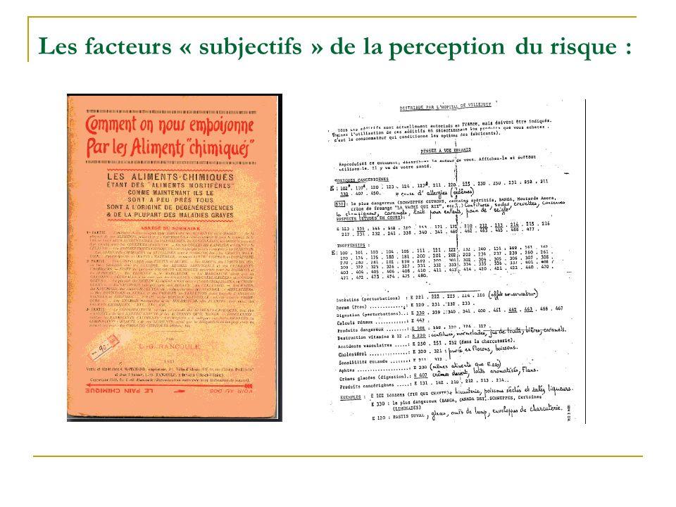 Les facteurs « subjectifs » de la perception du risque :