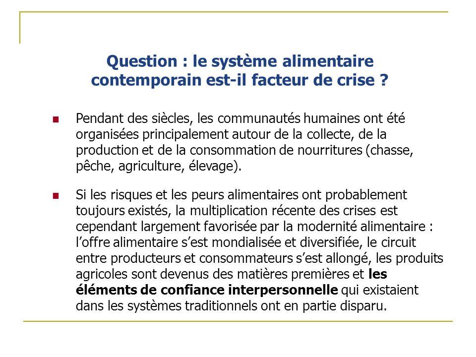Question : le système alimentaire contemporain est-il facteur de crise