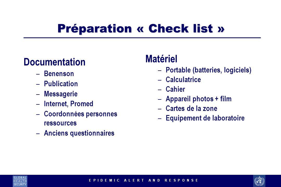 Préparation « Check list »