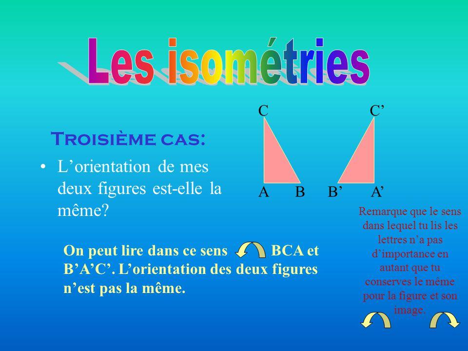 Les isométries Troisième cas: