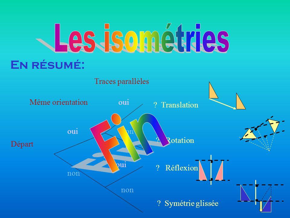 Les isométries Fin En résumé: Traces parallèles Même orientation oui