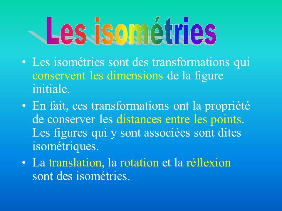 Les isométries Les isométries sont des transformations qui conservent les dimensions de la figure initiale.