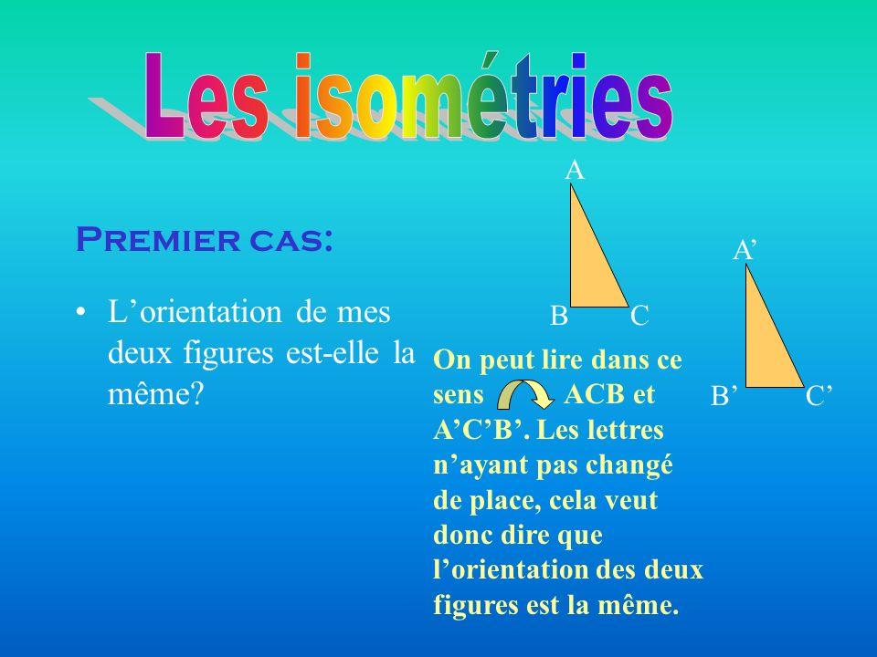Les isométries Premier cas: