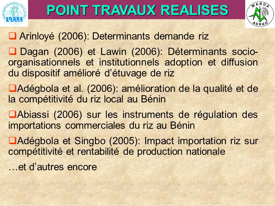 POINT TRAVAUX REALISES