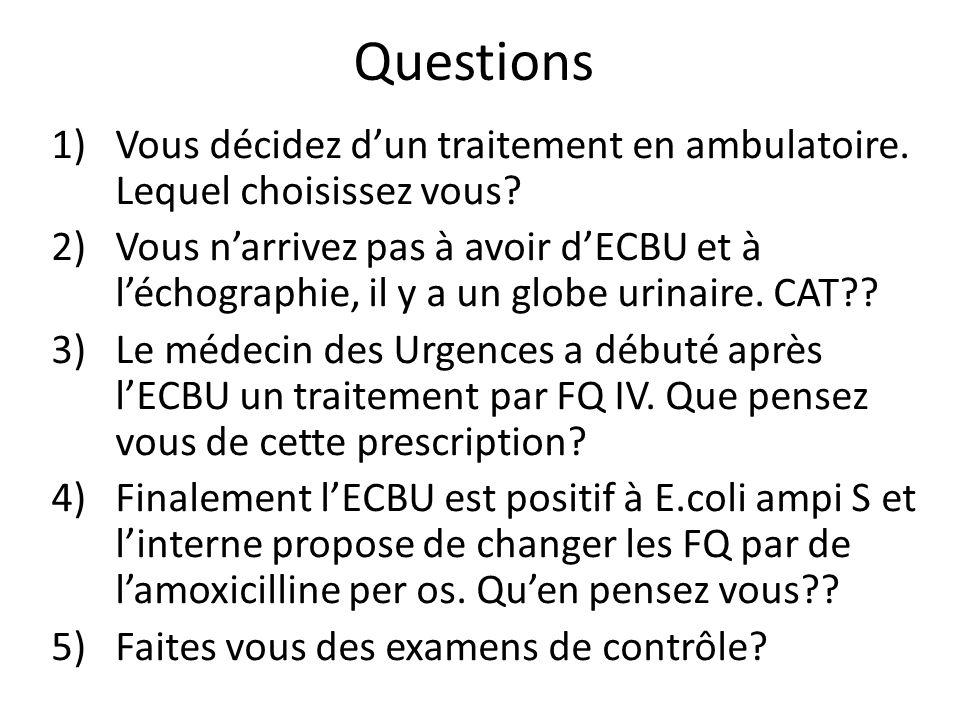 Questions Vous décidez d'un traitement en ambulatoire. Lequel choisissez vous