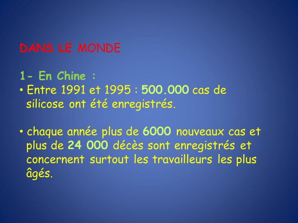 DANS LE MONDE 1- En Chine : Entre 1991 et 1995 : 500.000 cas de. silicose ont été enregistrés. chaque année plus de 6000 nouveaux cas et.