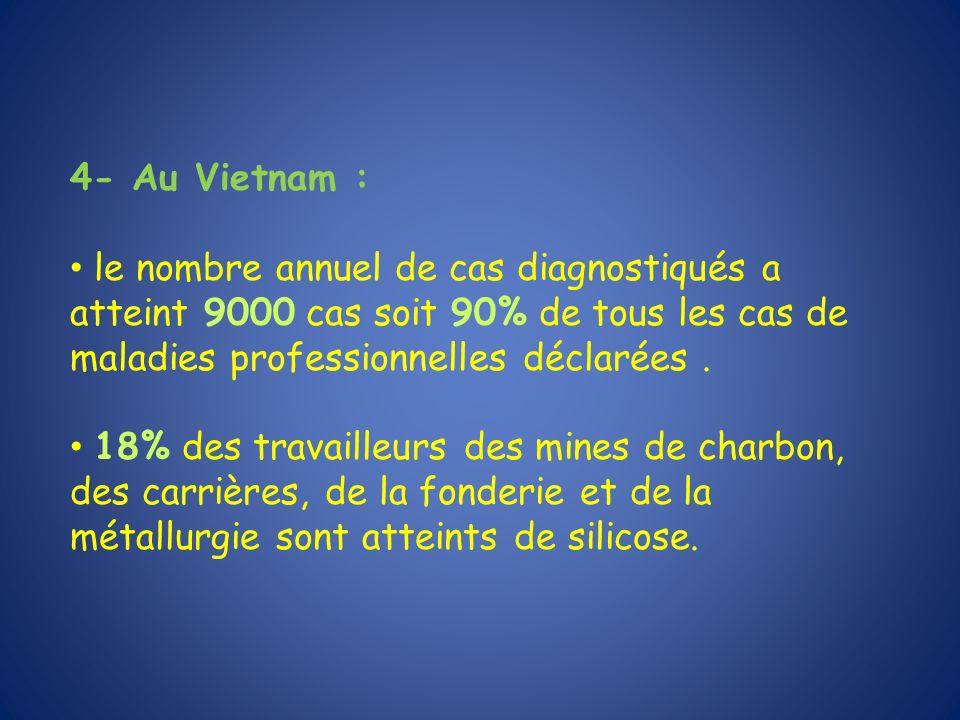 4- Au Vietnam : le nombre annuel de cas diagnostiqués a atteint 9000 cas soit 90% de tous les cas de maladies professionnelles déclarées .