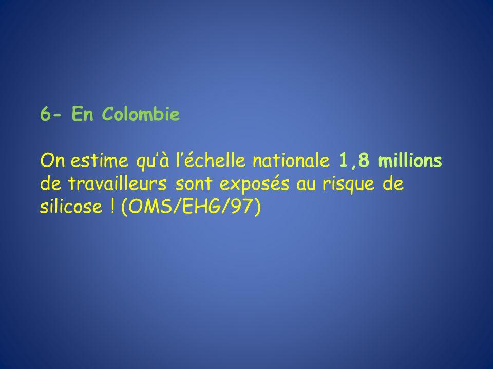 6- En Colombie On estime qu'à l'échelle nationale 1,8 millions de travailleurs sont exposés au risque de silicose .