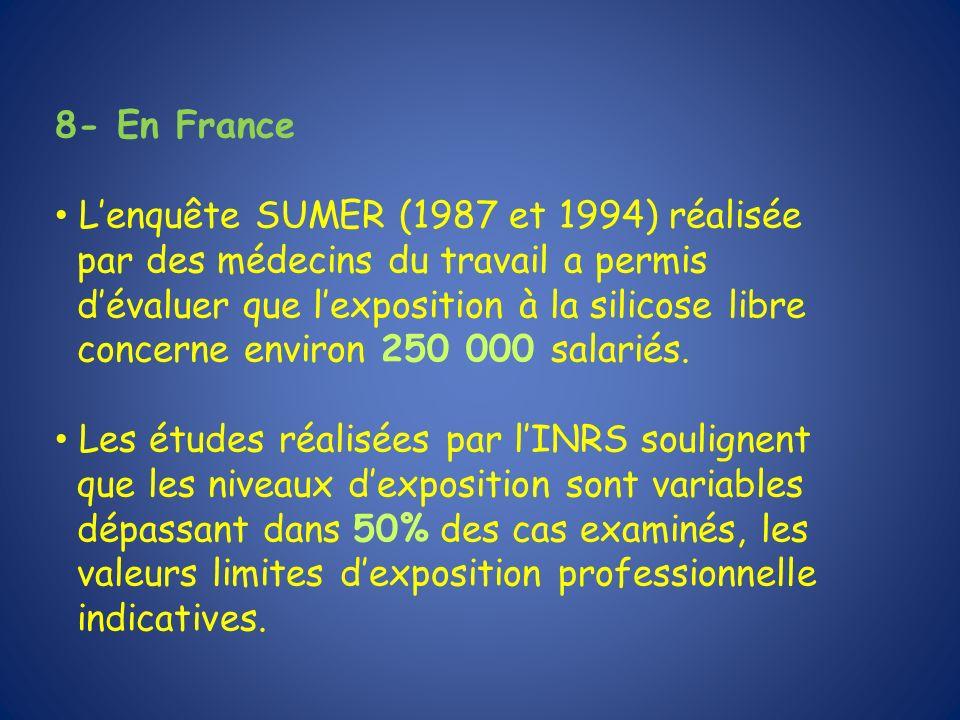 8- En France L'enquête SUMER (1987 et 1994) réalisée. par des médecins du travail a permis. d'évaluer que l'exposition à la silicose libre.