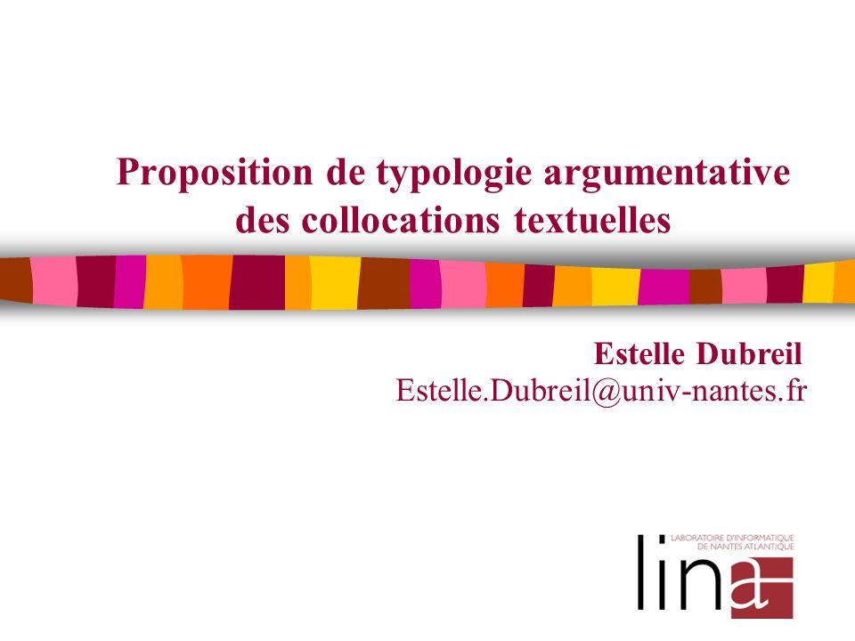 Proposition de typologie argumentative des collocations textuelles