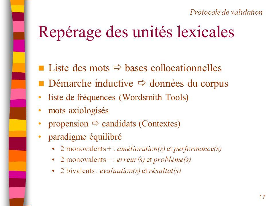 Repérage des unités lexicales