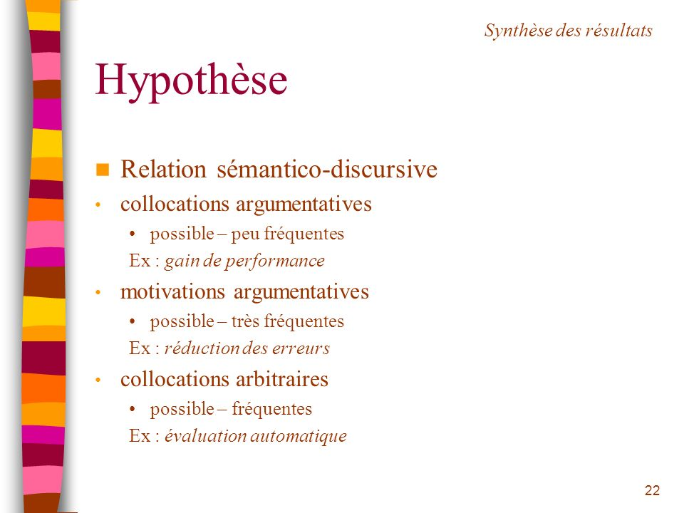 Hypothèse Relation sémantico-discursive collocations argumentatives