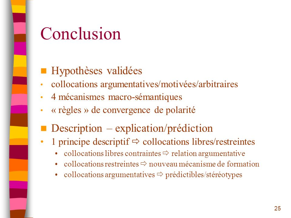 Conclusion Hypothèses validées Description – explication/prédiction