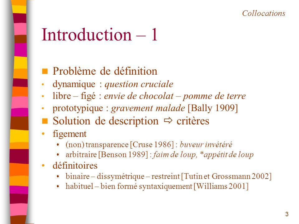 Introduction – 1 Problème de définition