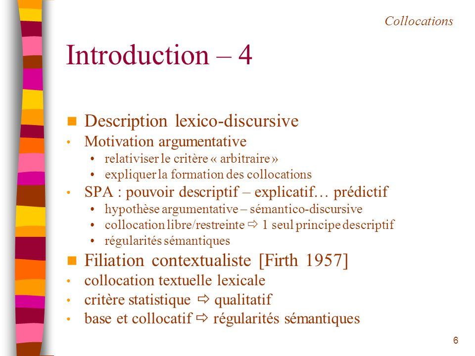 Introduction – 4 Description lexico-discursive