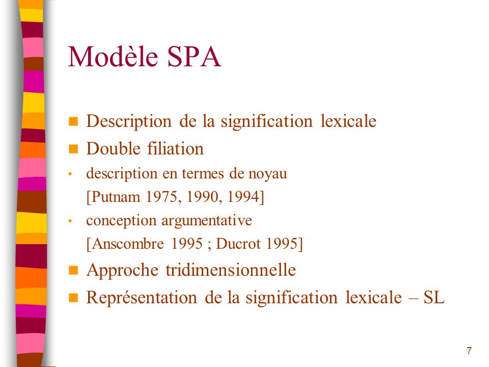 Modèle SPA Description de la signification lexicale Double filiation