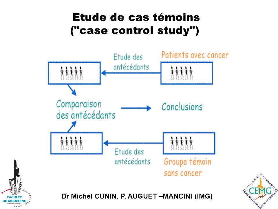 Etude de cas témoins ( case control study )