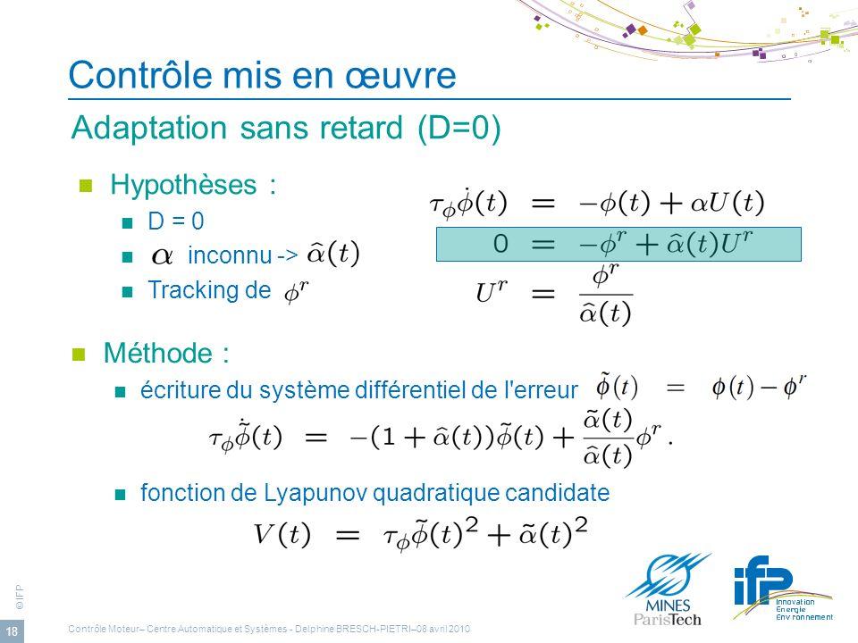 Contrôle mis en œuvre Adaptation sans retard (D=0) Hypothèses :