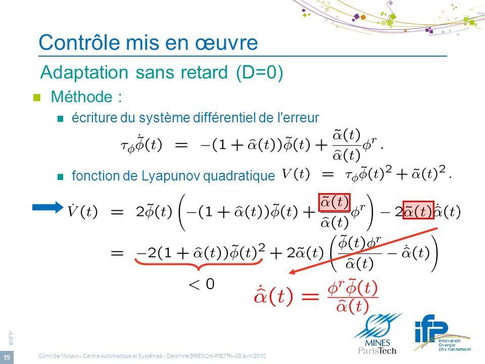Contrôle mis en œuvre Adaptation sans retard (D=0) Méthode :