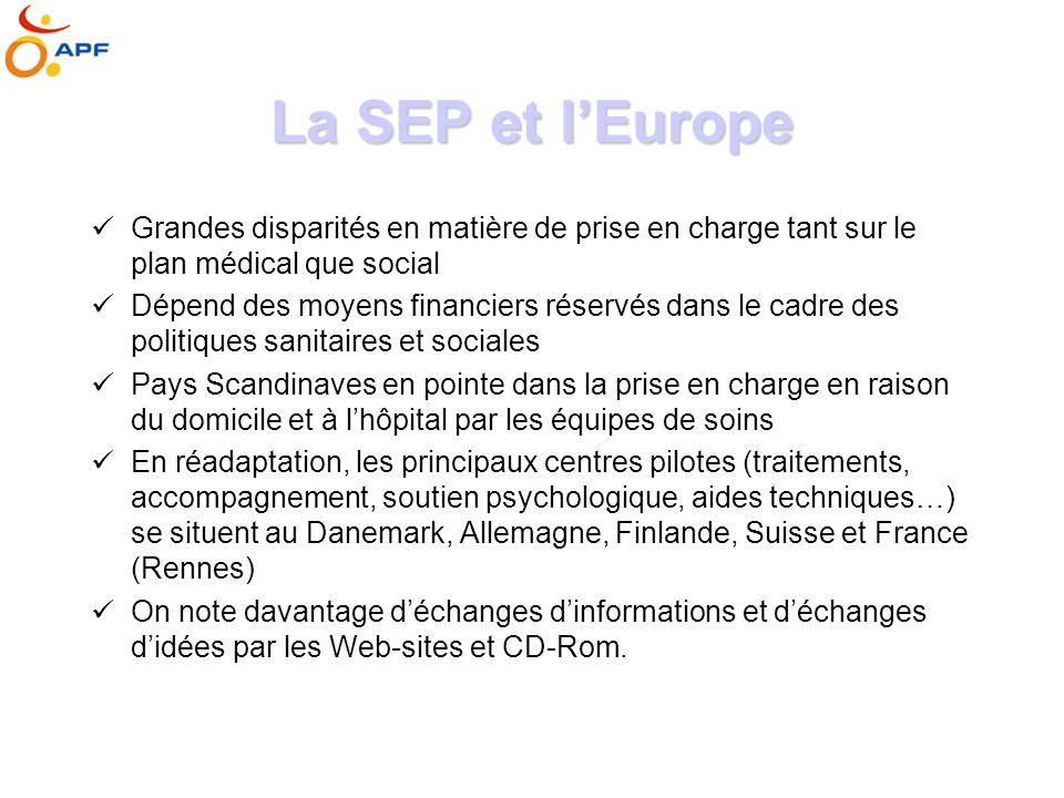 La SEP et l'Europe Grandes disparités en matière de prise en charge tant sur le plan médical que social.