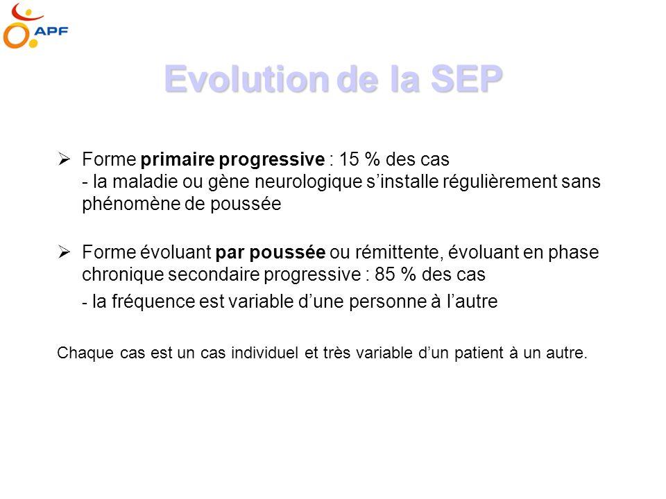 Evolution de la SEP Forme primaire progressive : 15 % des cas - la maladie ou gène neurologique s'installe régulièrement sans phénomène de poussée.