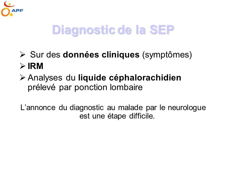 Diagnostic de la SEP Sur des données cliniques (symptômes) IRM