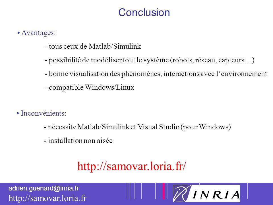 http://samovar.loria.fr/ Conclusion Avantages: