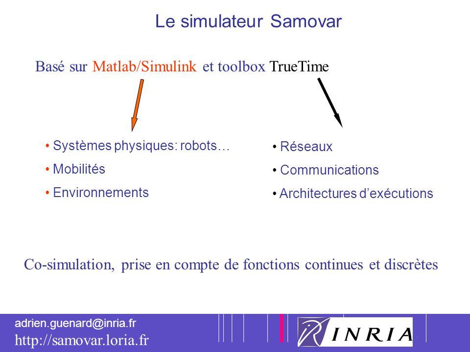 Le simulateur Samovar Basé sur Matlab/Simulink et toolbox TrueTime