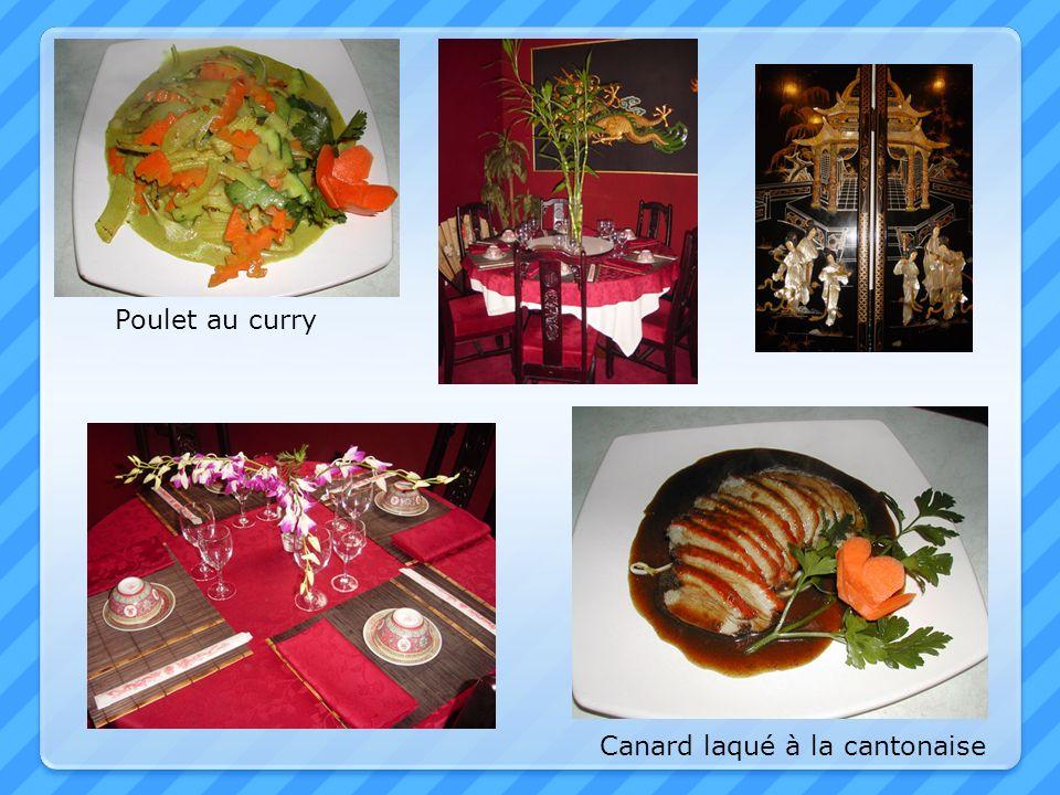 Poulet au curry Canard laqué à la cantonaise