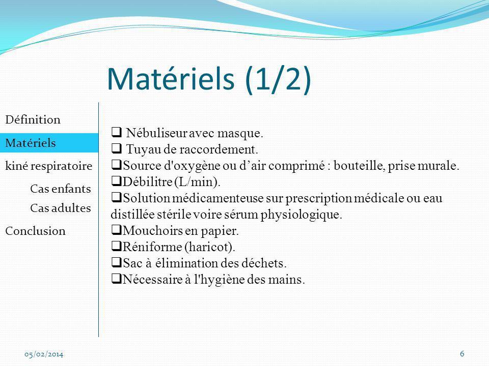 Matériels (1/2) Nébuliseur avec masque. Tuyau de raccordement.