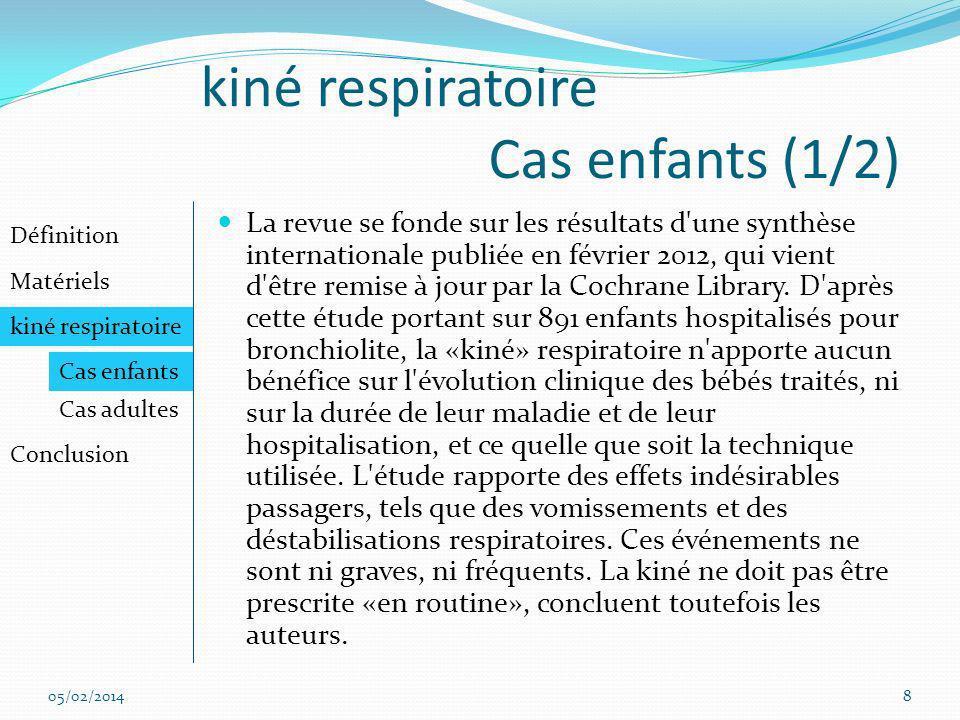 kiné respiratoire Cas enfants (1/2)