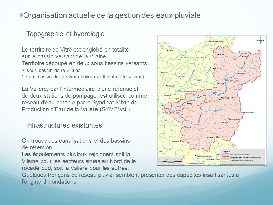 Organisation actuelle de la gestion des eaux pluviale - Topographie et hydrologie Le territoire de Vitré est englobé en totalité sur le bassin versant de la Vilaine.