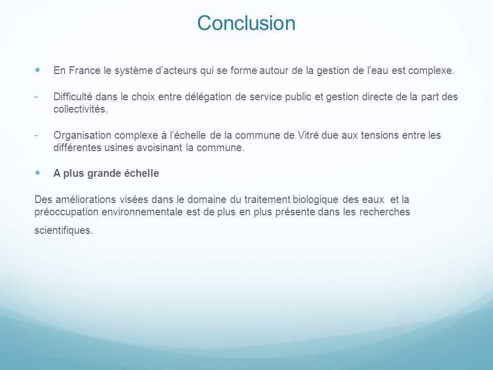 Conclusion En France le système d'acteurs qui se forme autour de la gestion de l'eau est complexe.