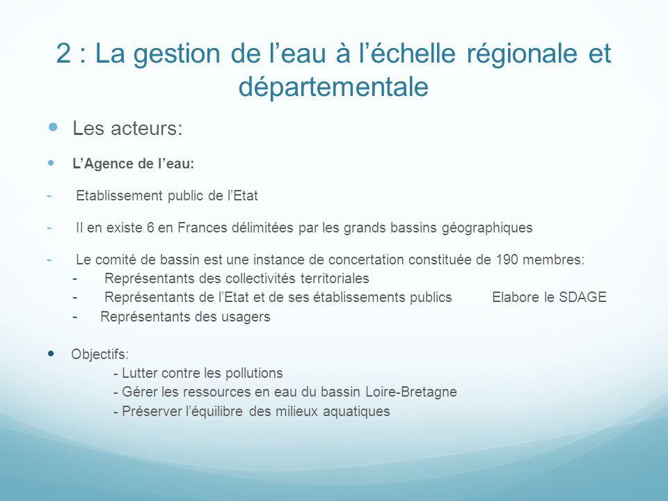 2 : La gestion de l'eau à l'échelle régionale et départementale