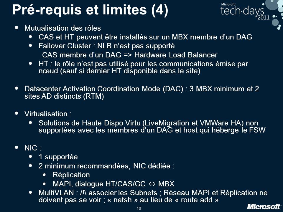 Pré-requis et limites (4)