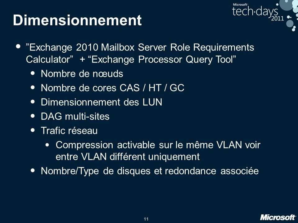 Dimensionnement Exchange 2010 Mailbox Server Role Requirements Calculator + Exchange Processor Query Tool
