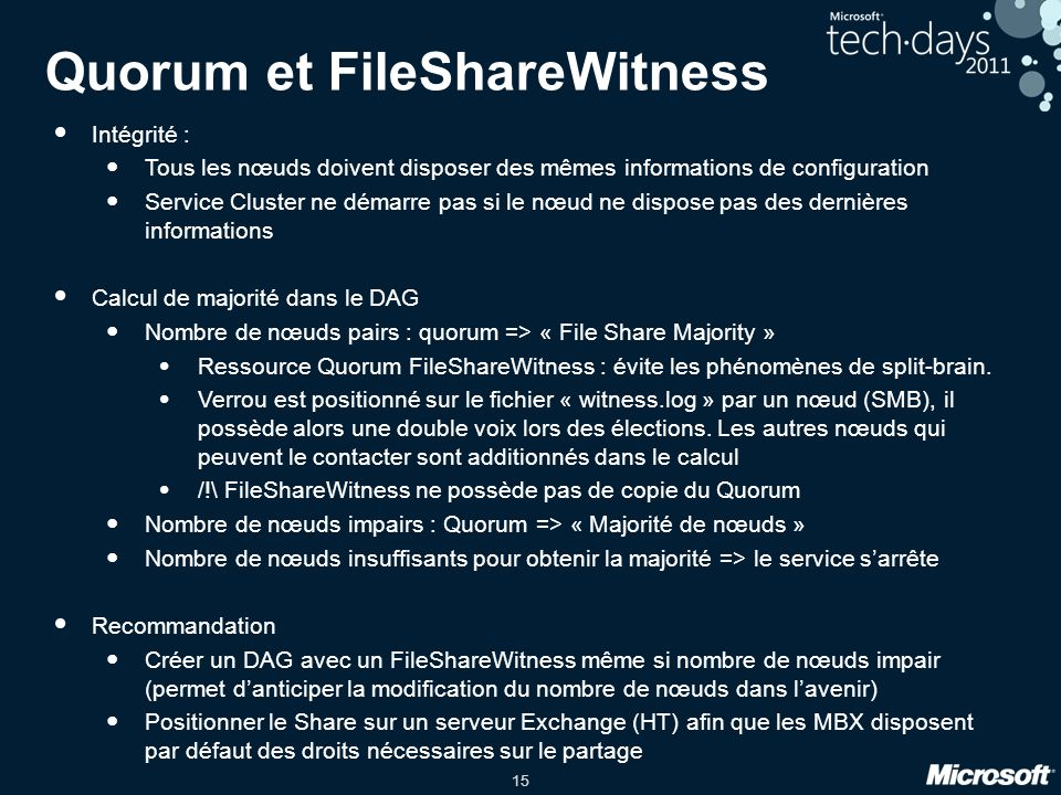 Quorum et FileShareWitness