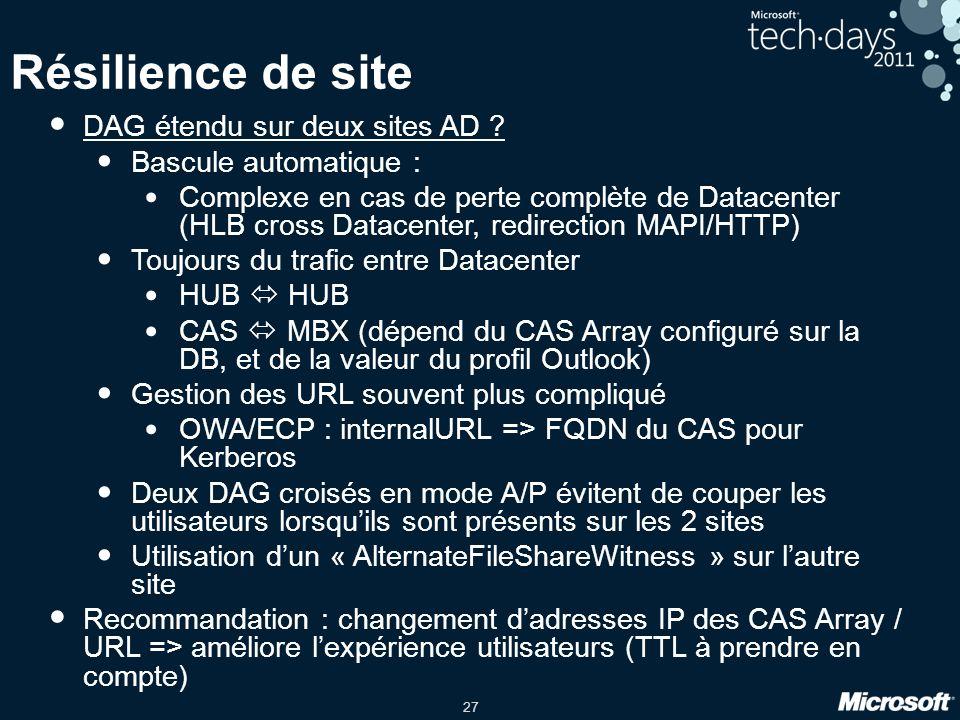 Résilience de site DAG étendu sur deux sites AD