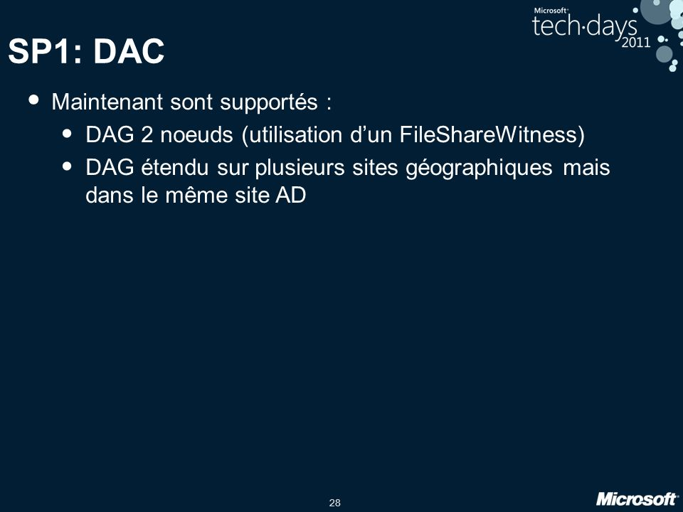 SP1: DAC Maintenant sont supportés :