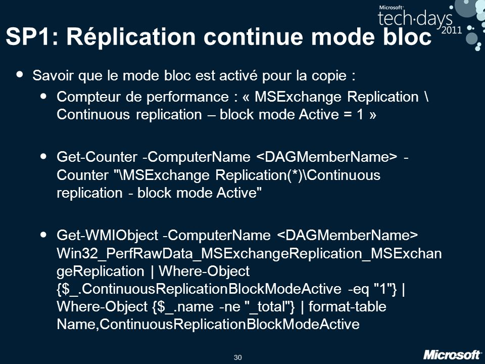 SP1: Réplication continue mode bloc