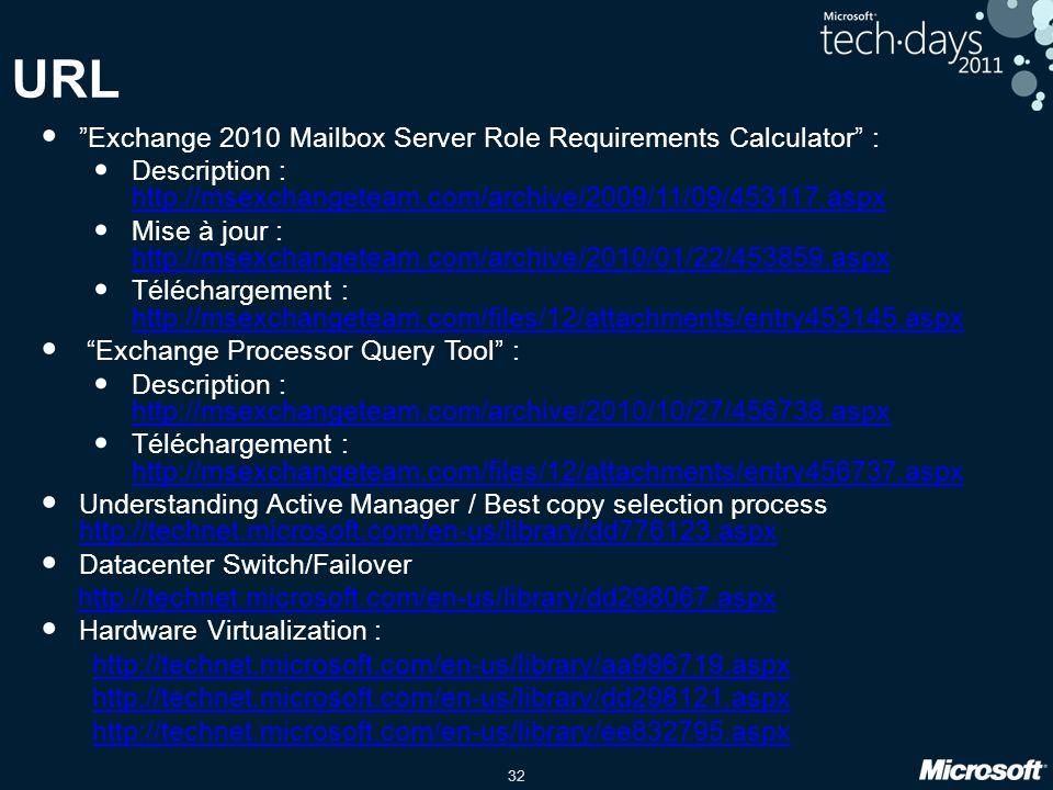 URL Exchange 2010 Mailbox Server Role Requirements Calculator :