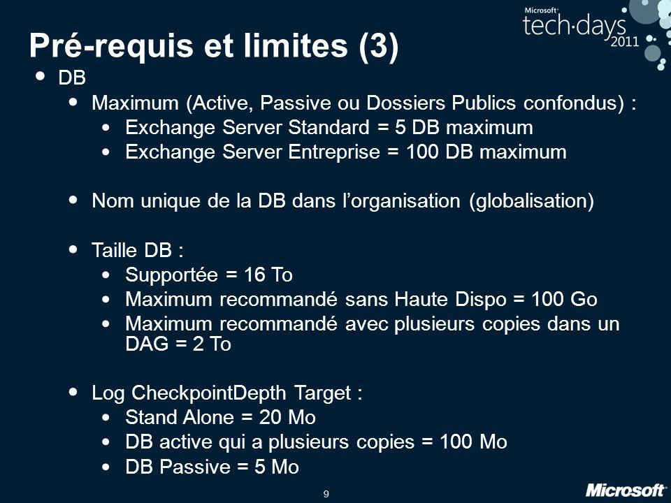 Pré-requis et limites (3)