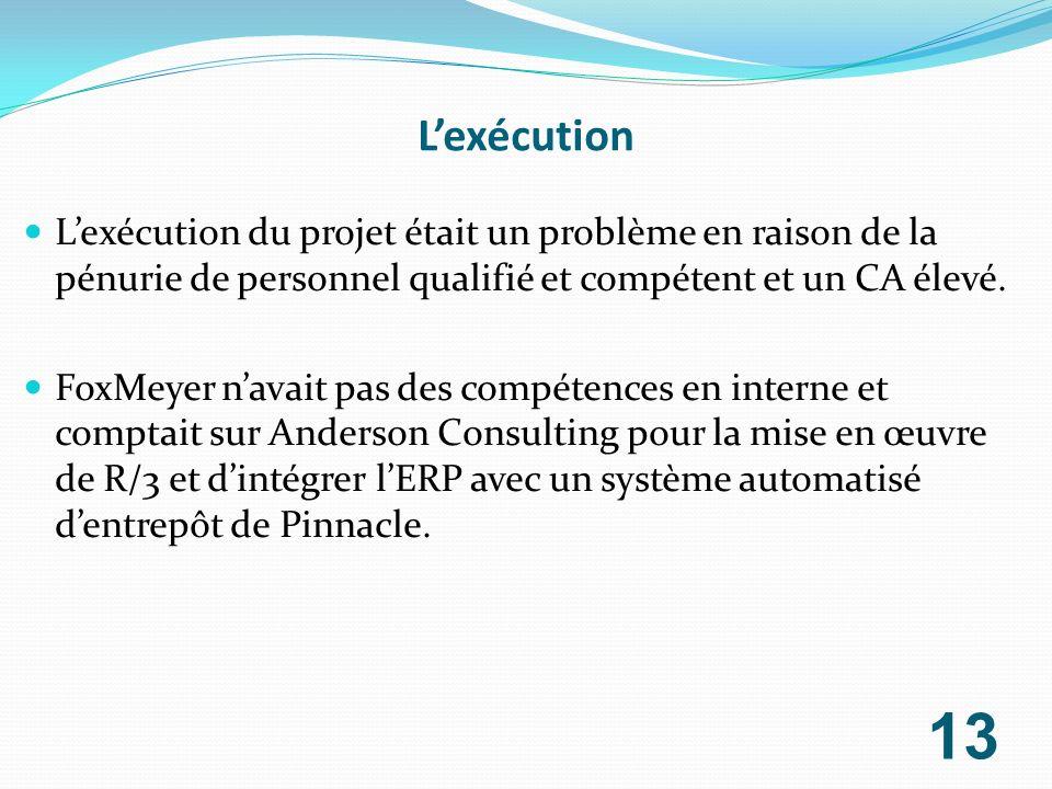 L'exécution L'exécution du projet était un problème en raison de la pénurie de personnel qualifié et compétent et un CA élevé.