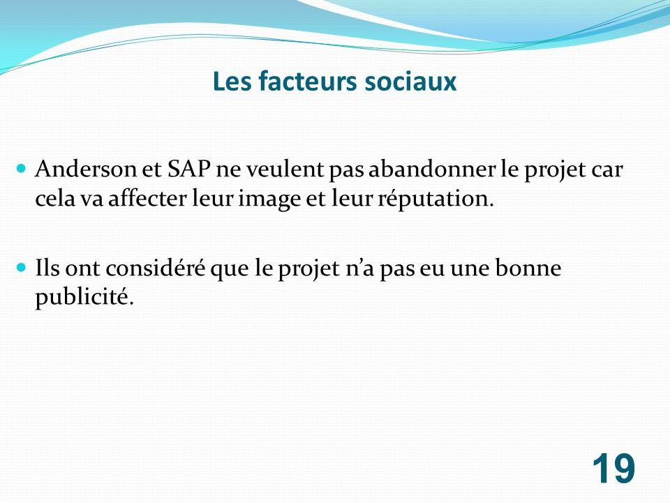 Les facteurs sociaux Anderson et SAP ne veulent pas abandonner le projet car cela va affecter leur image et leur réputation.
