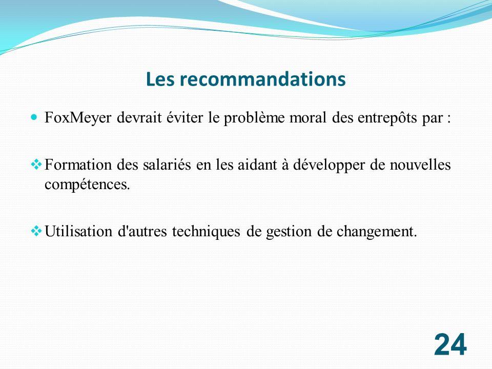Les recommandations FoxMeyer devrait éviter le problème moral des entrepôts par :