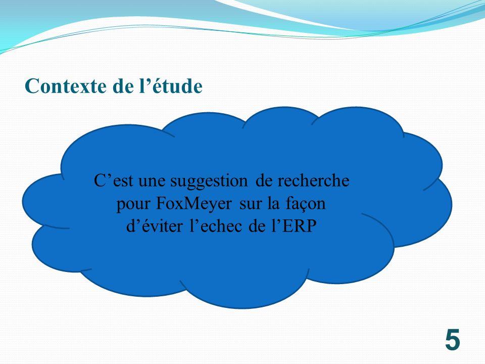 Contexte de l'étude C'est une suggestion de recherche pour FoxMeyer sur la façon d'éviter l'echec de l'ERP.