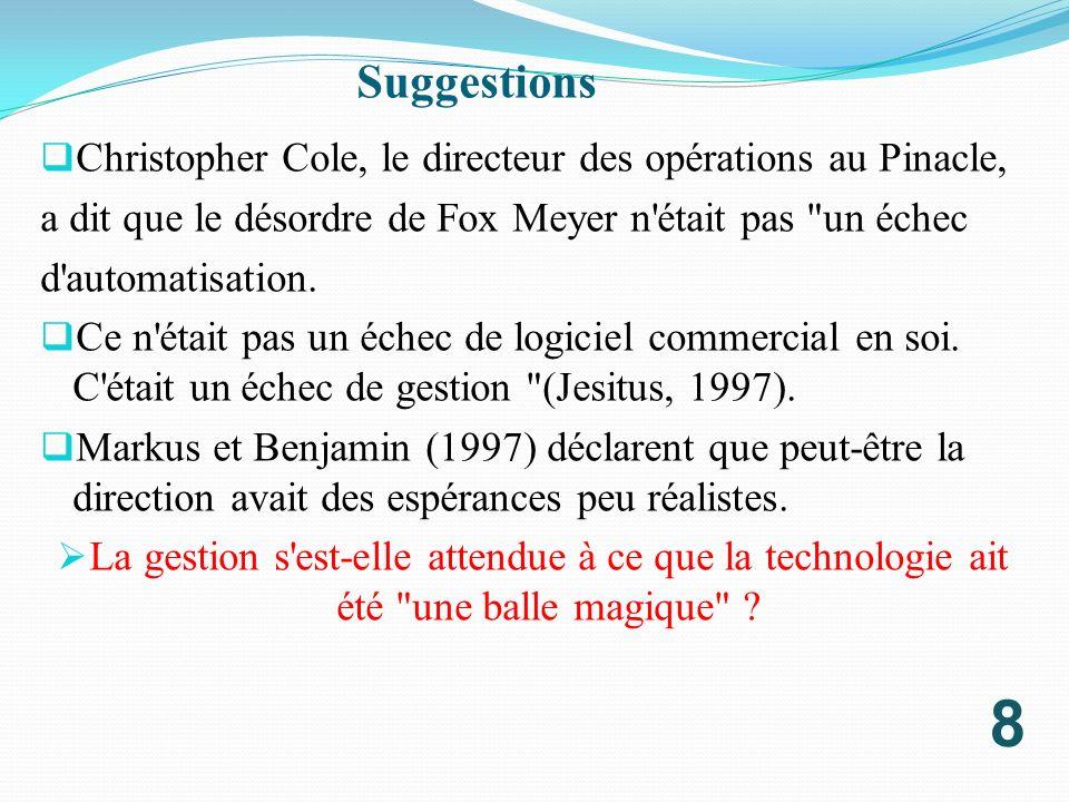 Suggestions Christopher Cole, le directeur des opérations au Pinacle,