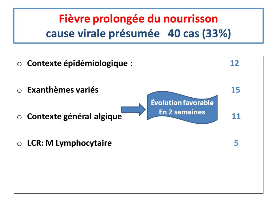 Fièvre prolongée du nourrisson cause virale présumée 40 cas (33%)