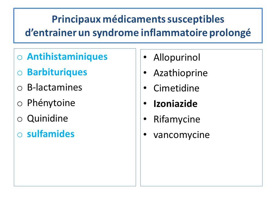 Principaux médicaments susceptibles d'entrainer un syndrome inflammatoire prolongé