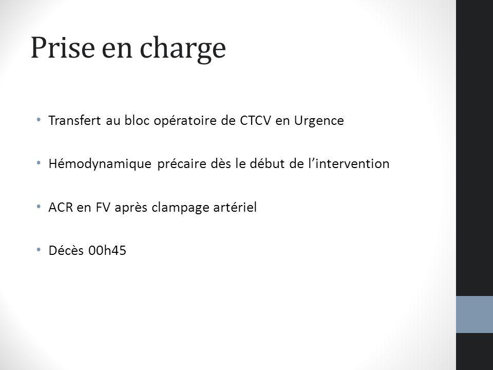 Prise en charge Transfert au bloc opératoire de CTCV en Urgence
